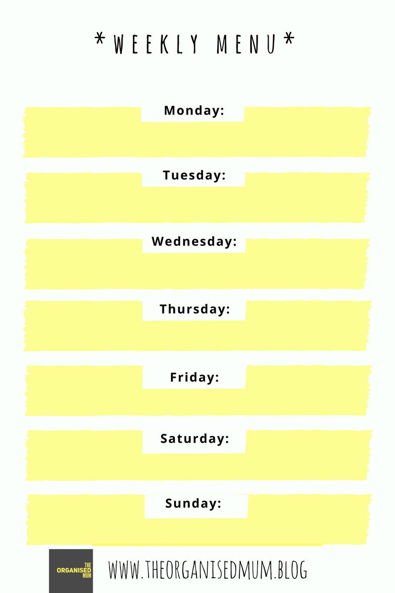 Weekly Menu Plan Printable The Organised Mum – Weekly Menu