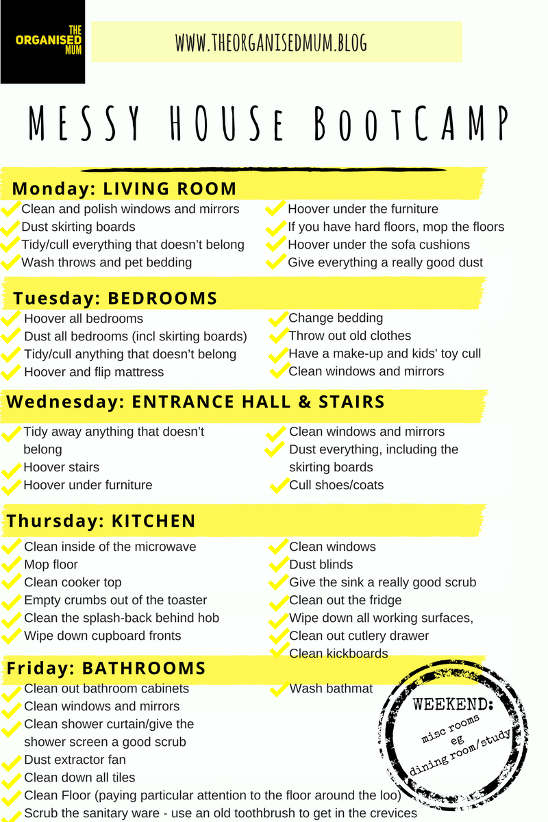 Free Daily Weekly Monthly Cleaning Schedule