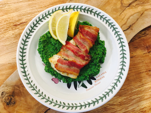 Pesto Cod Wrapped in Bacon.
